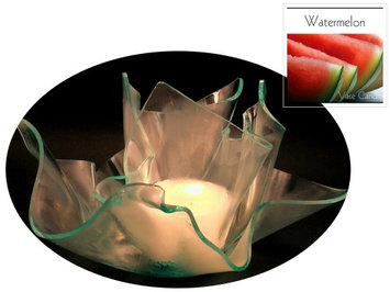Vase Candle Watermelon (2 Candles) and a Clear Satin Set One Refillable Vase and one Dish (Pack of 4)