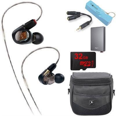 Audio-Technica ATH-E70 Professional In-Ear Monitor Headphone E12 Portable Amplifier Bundle