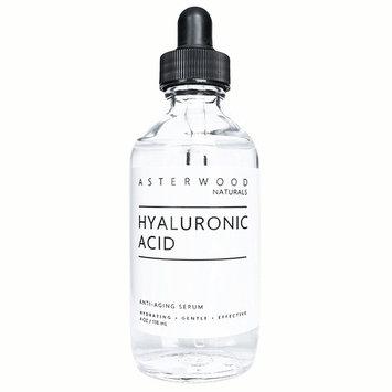 Hyaluronic Acid Serum 4 oz - 100% Pure Organic HA - Anti Aging Anti Wrinkle - Original Face Moisturizer for Dry Skin & Fine Lines - Leaves Skin Full & Plump ASTERWOOD NATURALS Dropper Bottle