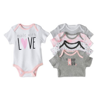 Quiltex 5 Pack Bodysuits Girl 6/9M