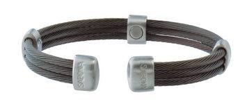 Sabona Of London Sabona Trio Cable Black and Silvertone Satin Stainless Steel Magnetic Bracelet