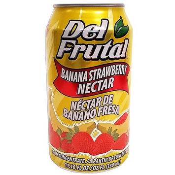 Del Frutal Strawberry Banana Nectar 11.16 oz - Sabor Fresa y Banano (Pack of 24)