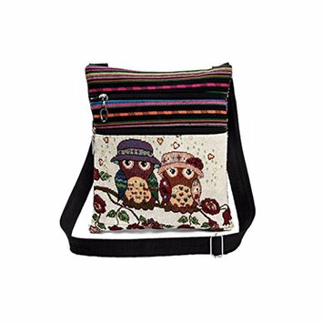 AutumnFall Embroidered Owl Tote Bags Women Shoulder Bag Handbags Postman Package (C)