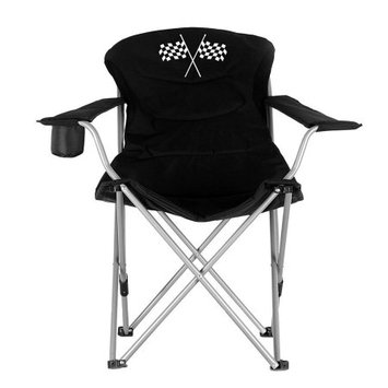 Ming's Mark Inc. Ming's Mark 36029 Foldable Reclining Camp Chair - Black w/ Checkered Flag