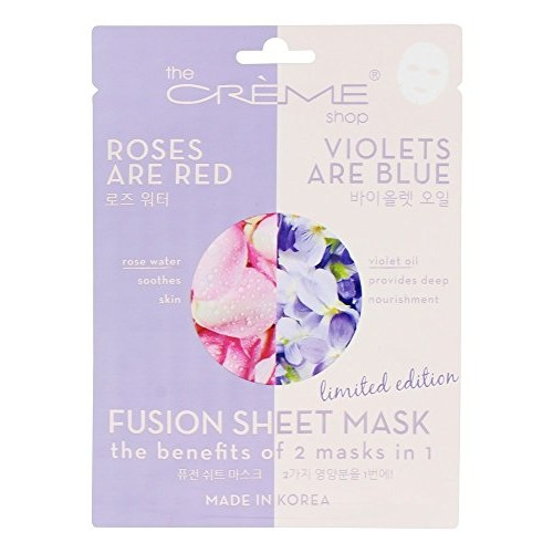 The Creme Shop - 2 in 1 Fusion Face Sheet Mask Roses Are Red Violets Are Blue - 1 Count