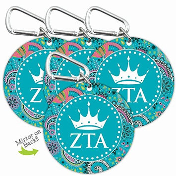 Zeta Tau Alpha Sorority Personal Mini Mirror with Carabiner Clip 4-Pack [Zeta Tau Alpha]