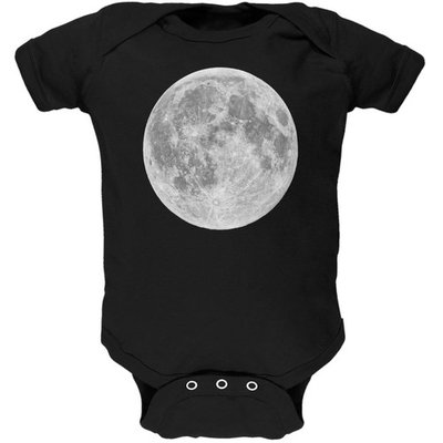 Earth's Moon Black Soft Baby One Piece