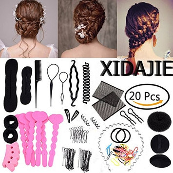 XIDAJE Exquisite 20 Types Hair Styling Clip Hairpin Hair Comb Band Twist Tool Bun Maker