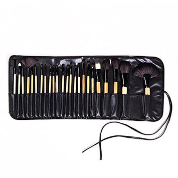 HaloVa Makeup Brush Set, Durable Soft Strong Powder-catching Portable Makeup Brush Set, Eye Shadow Powder Foundation BB Cream Blush Eyebrow Makeup Tool Set, Burlywood, 1 Set of 24 Pcs