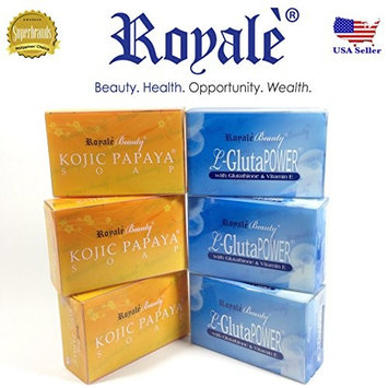Authentic ROYALE KOJIC Papaya Soap (3 PIECES) AND Authentic Royale L-Gluthathione and Vitamin E Whitening SOAP (3 pieces)