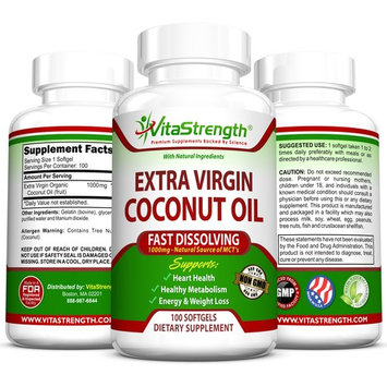 VitaStrength Extra Virgin Coconut Oil - 1000 milligrams - Dissolves Quickly - Promotes a Healthier Metabolism - Encourages Weight Loss and Much More - 100 Softgels