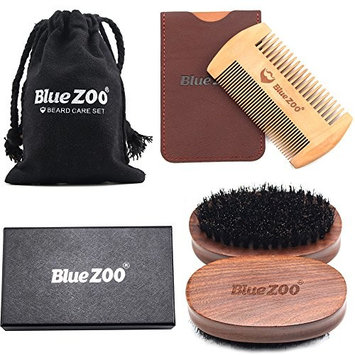 Blue ZOO Beard Mustache Brush and Comb Kit - Boar Bristle Beard Brush Wooden Grooming Comb - Facial Hair Care Gift Set for Men