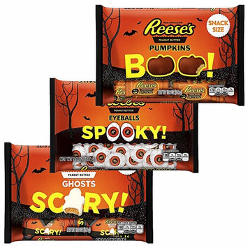 Reeses Peanut Butter Candy - Eyeballs Pumpkins and Ghosts - Halloween Chocolate Variety Pack Snack Candies Size, 9.8 - 10.2 Ounces