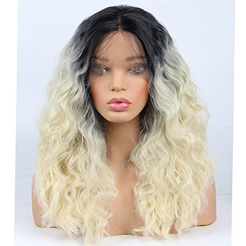 Life Diaries Short Bob Lace Front Wig Synthetic 2 Tones Blonde Ombre Dark Roots to Blonde Wig Glueless Curly Hair Heat Resistant Fibers Middle Parting Shoulder Length Hair Curly Short Bob Wigs 14Inch
