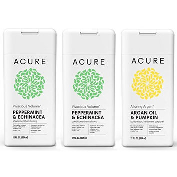 ACURE Vivacious Volume Shampoo & Conditioner and Alluring Argan Body Wash Bundle with Certified Organic Acai Extract, Blackberry Extract, Rosehips Extract and Pomegranate Extract, 12 fl. oz. each