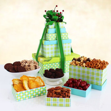Sweets Treats and Eats Holiday Tower Gift Basket
