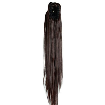 Medium Brown Long Straight Claw Ponytails 21 Inches Clip on Ponytail Hair Extensions Hairpiece Pony Tail Extension for Girl Lady Women