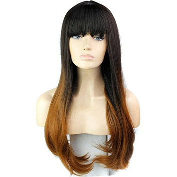 VIMIKID 28 inches Women's Silky Long Straight Wig Heat Resistant Synthetic Wig With Bangs Human Hair Party Cosplay Wig (black& wine red)