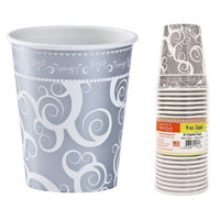 Hanna K Signature 2184943 9 oz Silver Medley Paper Hot-Cold Cup - Pack of 36 & 24 per Pack