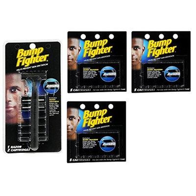 Bump Fighter Refill Razor w/ 2 Cartridges + Bump Fighter Refill Cartridge Blades - 5 ea. (Pack of 3) + FREE Scunci Black Roller Pins, 18 Pcs
