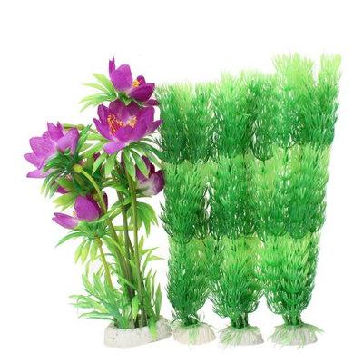 Ceramic Base Manmade Purple Flowers Green Leaf Aquarium Decor Set 4 Pcs