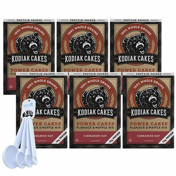 Kodiak Cakes Pancake and Waffle Mix, Protein-Packed Whole Grains, Cinnamon Oat (Pack of 6) bundle with a Lumintrail Measuring Spoon Set