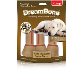 Petmatrix DreamBone Vegetable and Chicken Peanut Butter Large Dog Chews, 3-Count, 12 oz