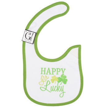Dollaritemdirect BABY BIB HAPPY GO LUCKY 12.5 X 8 COTTON, Case Pack of 144