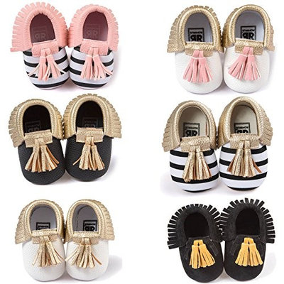 Cute Tassel Style Infant Baby Toddlers Kids Shoes with Soft Sole Unisex for Baby Girls Boys Cotton Shoe Upper Stripe + Gold Size 11 Fits Babies Aged 0 to 6 Months