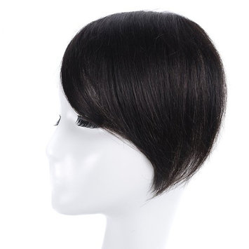 Clip in Bangs Black KNITTING One Piece 100% Real Human Hair Side Swept Clip in Fringe Bangs Hair Extensions 1b #