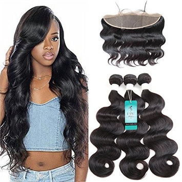 10A Ear to Ear Swiss Lace Frontal Closure with Bundles Brazilian Body Wave 3 Bundles with Frontal Closure Pre Plucked 13x4 Frontal and Bundles Human Hair Weave Bundles with Frontal 16 18 20 + 14
