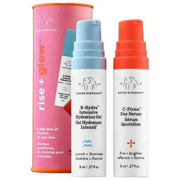 Drunk Elephant Rise + Glow Duo - Morning Skin Care Set. C-Firma Day Serum and B-Hydra Intensive Hydration Serum with Vitamin B5 (8 ml each)