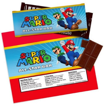 Birthday Express Super Mario Party Large Candy Bar Wrappers (4 sheets of 2)