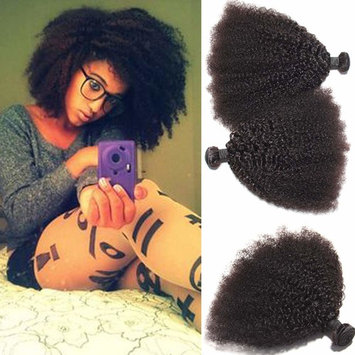 AS Mongolian Afro Kinky Curly Weave Human Hair Extensions for Black Women,100% Virgin Real Human Hair Bundles Grade 8A Natural Black Curly Weave Hair