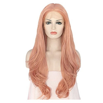 QD-Udreamy Natural Wavy Peach Pink Hair Wigs Synthetic Lace Front Wigs for Women Daily Ware 24inch