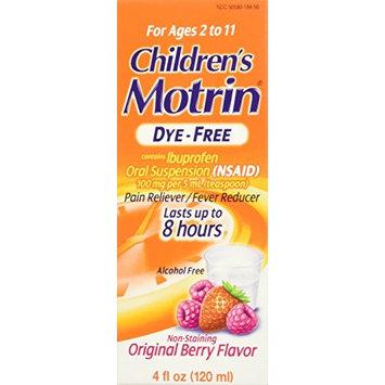 3 Pack - Children's Motrin Ibuprofen Oral Suspension Dye-Free Berry 4oz Each