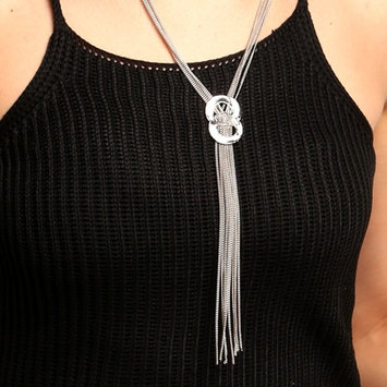 Women Fashion Sexy Long Tassel Knot Statement Y-Necklace Rhinestone Pendant Chain BYE