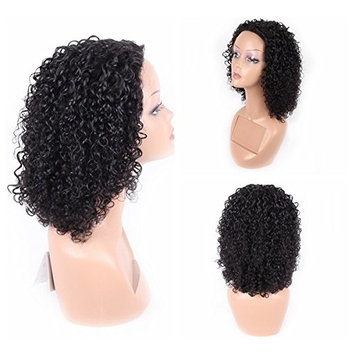 Jiayi Afro Kinky Curly Lace Frontal Human Hair Wigs for Black Women 130% Density Glueless Brazilian Virgin Remy Hair Jerry Curly Wig Deep Curly Wave Lace Front Wigs for Daily Wear (14