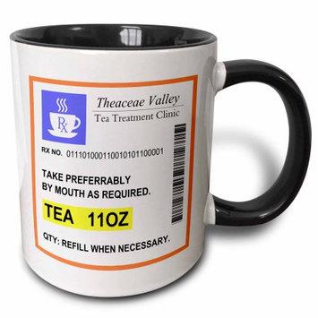 3dRose Funny Tea Prescription. humorous prescribed cup of tea. joke medicine, Two Tone Black Mug, 11oz