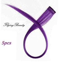 Purple Clip in Human Hair Extensions Straight 100% Remy Human Hair Purple Clip in Highlights 5 Pieces/set 18 Inch Color Purple