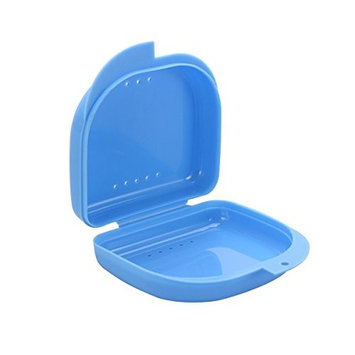 ROSENICE Denture Retainer Case With Vent Holes and Hinged Lid Snaps Mouth Guard Case Orthodontic (Blue)