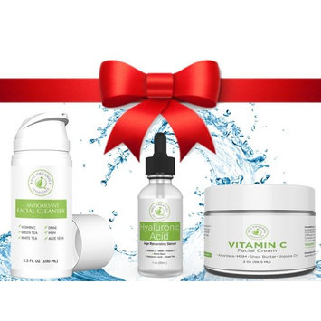 Anti Aging Moisturizing Skincare Set, Face Wash, Hyaluronic Acid Serum, Face Cream - Free Cosmetic Bag with purchase