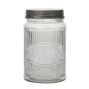 Stonebriar Collection Clear Pressed Glass Milk Powder Jar with Galvanized Lid
