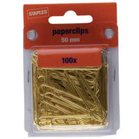 Staples Gold Paper Clips, Smooth