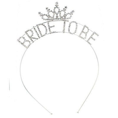 Crystal Avenue Wedding Bridal Bachelorette Rhinestone Tiara Headband (Bride To Be Silver)