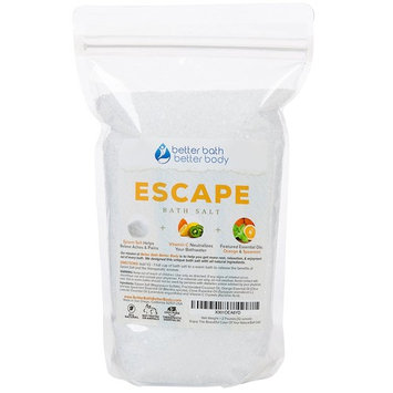 Escape Bath Salt 32oz (2-Lbs) - Epsom Salt Bath Soak With Orange & Spearmint Essential Oil Plus Vitamin C - Take A Mini-Vacation In Your Bath