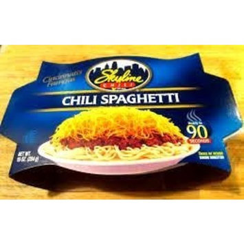 Skyline Chili & Spaghetti-Microwaveable 10 oz Dish, 4 PACK +FREE Box of Skyline Oyster Crackers (Shredded Cheese Not Included)