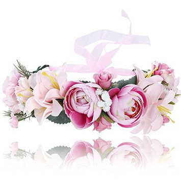 Flower Crown Bohemian Floral Headdress - AWAYTR Female Flower Headband Hair Wreath Wedding Hair Accessories (Pink)