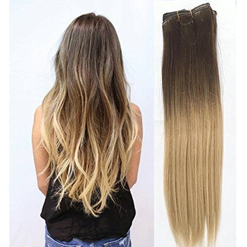 18 Inches Straight 100gr Full Head 100% Real Clip in Human Hair Extensions (Medium brown to light blonde)