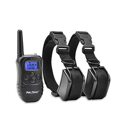 Petrainer PET998DR2 Rechargeable Rainproof Electric Shock E-Collar LCD 100LV Shock Remote Training Collar for 2 Dog